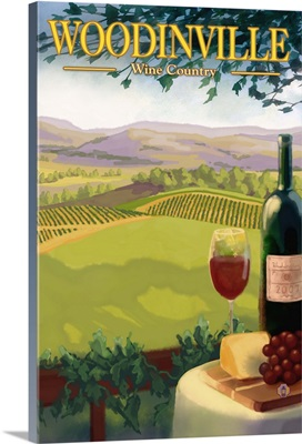 Woodinville Wine Country: Retro Travel Poster