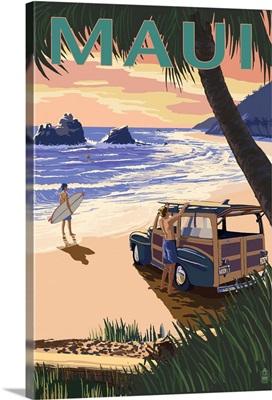 Woody and Beach - Maui, Hawaii: Retro Travel Poster