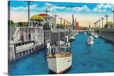World famous Canal Locks, Ballard, Seattle, WA