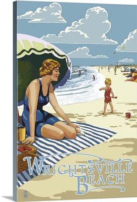 Wrightsville Beach, NC - Beach Scene: Retro Travel Poster