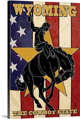 Wyoming Cowboy: Retro Travel Poster