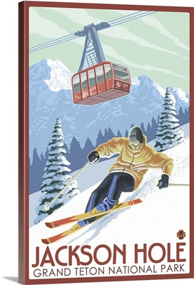 Wyoming - Jackson Hole Grand Teton Skiing: Retro Travel Poster
