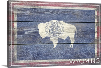 Wyoming State Flag on Wood