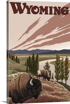 Wyoming - Yellowstone River Bison: Retro Travel Poster