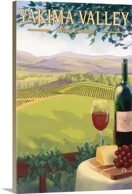 Yakima Valley, WA - Wine Country: Retro Travel Poster