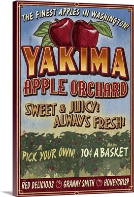 Yakima, Washington - Apple Orchard Vintage Sign: Retro Travel Poster