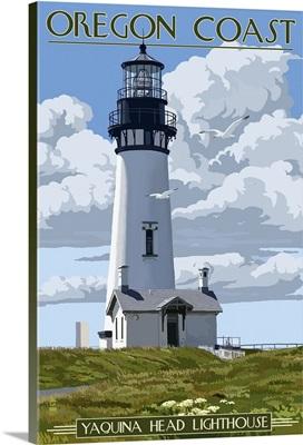 Yaquina Head Lighthouse - Oregon Coast: Retro Travel Poster