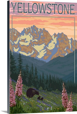 Yellowstone - Bear and Spring Flowers: Retro Travel Poster