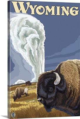 Yellowstone - Buffalo at Old Faithful: Retro Travel Poster