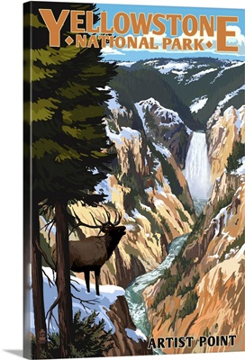 Yellowstone National Park - Artist Point and Elk: Retro Travel Poster