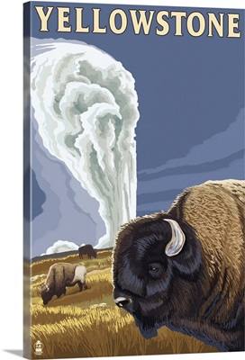 Yellowstone National Park - Bison and Old Faithful: Retro Travel Poster