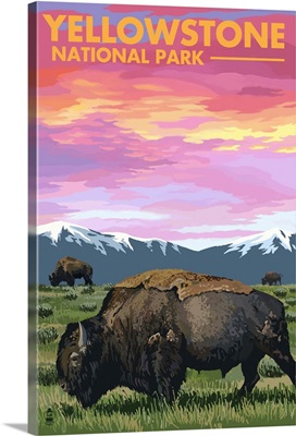 Yellowstone National Park - Bison and Sunset: Retro Travel Poster