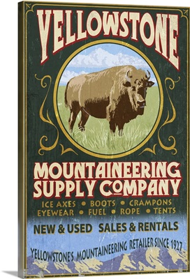 Yellowstone National Park - Bison Mountaineering Vintage Sign: Retro Travel Poster
