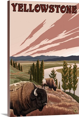 Yellowstone National Park - Bison Scene: Retro Travel Poster