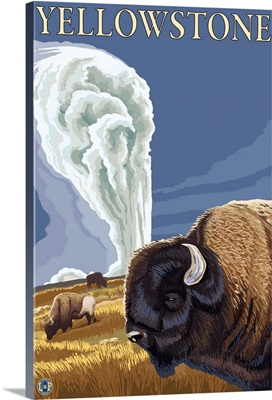 Yellowstone National Park - Bison with Old Faithful: Retro Travel Poster