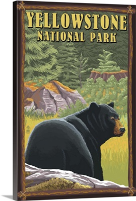 Yellowstone National Park - Black Bear in Forest: Retro Travel Poster
