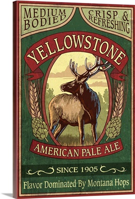 Yellowstone National Park - Elk Ale Vintage Sign: Retro Travel Poster