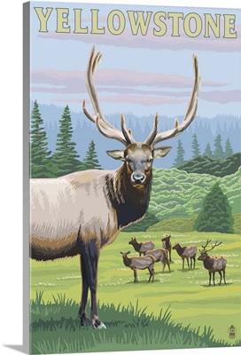 Yellowstone National Park - Elk Herd: Retro Travel Poster