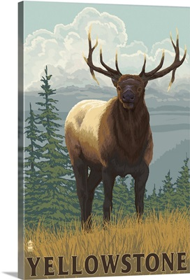 Yellowstone National Park - Elk: Retro Travel Poster