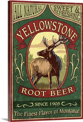 Yellowstone National Park - Elk Root Beer Vintage Sign: Retro Travel Poster