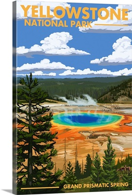 Yellowstone National Park - Grand Prismatic Spring: Retro Travel Poster