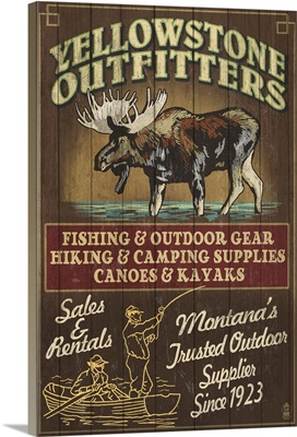 Yellowstone National Park, Montana - Moose Outfitters Vintage Sign: Retro Travel Poster