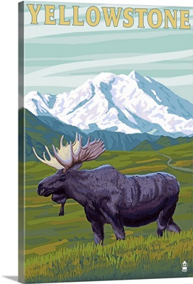 Yellowstone National Park - Moose and Mountain: Retro Travel Poster