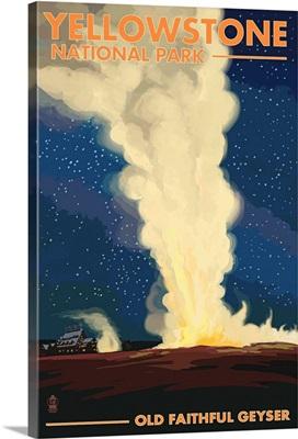 Yellowstone National Park - Old Faithful at Night: Retro Travel Poster