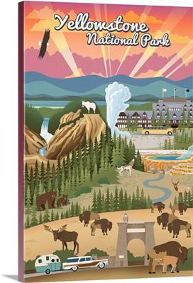 Yellowstone National Park - Retro View: Retro Travel Poster
