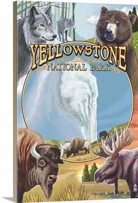 Yellowstone National Park Wildlife Montage: Retro Travel Poster