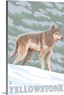 Yellowstone National Park - Wolf Scene: Retro Travel Poster