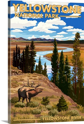 Yellowstone National Park - Yellowstone River and Elk: Retro Travel Poster