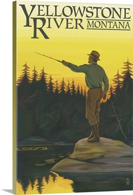 Yellowstone River, Montana - Fly Fishing Scene: Retro Travel Poster