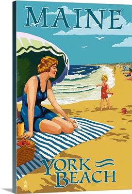 York Beach, Maine - Beach Scene: Retro Travel Poster