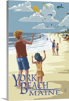 York Beach, Maine - Children with Kites: Retro Travel Poster
