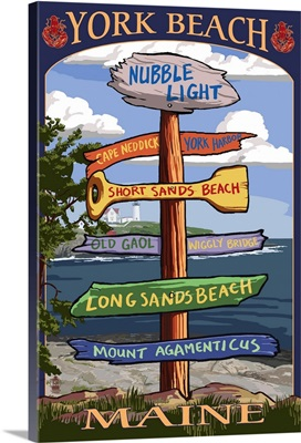 York Beach, Maine - Sign Destinations: Retro Travel Poster