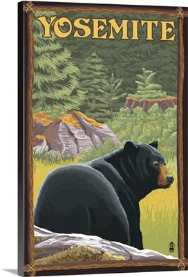 Yosemite, California - Bear in Forest: Retro Travel Poster