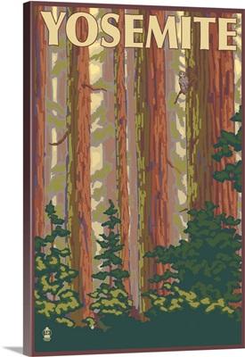 Yosemite, California - Forest Scene: Retro Travel Poster