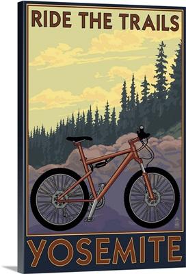 Yosemite, California - Ride the Trails: Retro Travel Poster