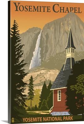 Yosemite Chapel and Yosemite Falls - California: Retro Travel Poster