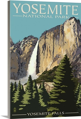 Yosemite Falls - Yosemite National Park, California: Retro Travel Poster