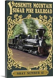 Yosemite Mountain Sugar Pine Railroad Retro Travel Poster