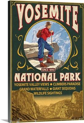 Yosemite National Park, California - Half Dome Vintage Sign: Retro Travel Poster