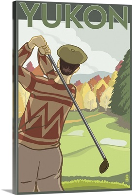 Yukon, Canada - Golf Scene: Retro Travel Poster