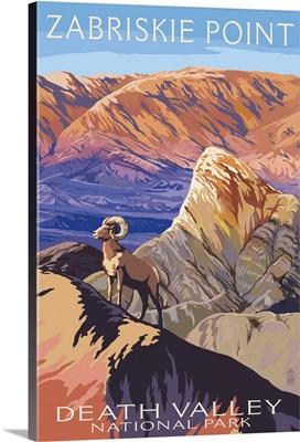 Zabriskie Point and Big Horns - Death Valley National Park: Retro Travel Poster