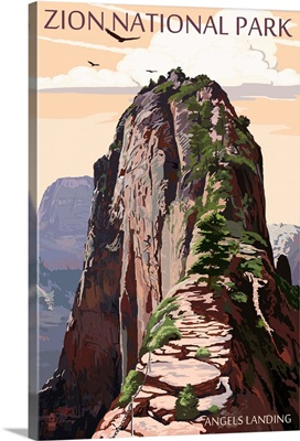 Zion National Park - Angels Landing and Condors: Retro Travel Poster