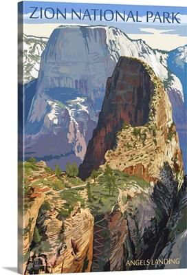 Zion National Park - Angels Landing: Retro Travel Poster