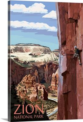 Zion National Park - Cliff Climber: Retro Travel Poster