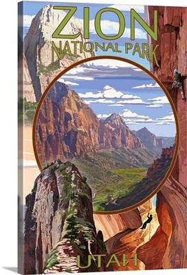 Zion National Park - Montage Views: Retro Travel Poster