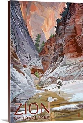 Zion National Park - Slot Canyon: Retro Travel Poster